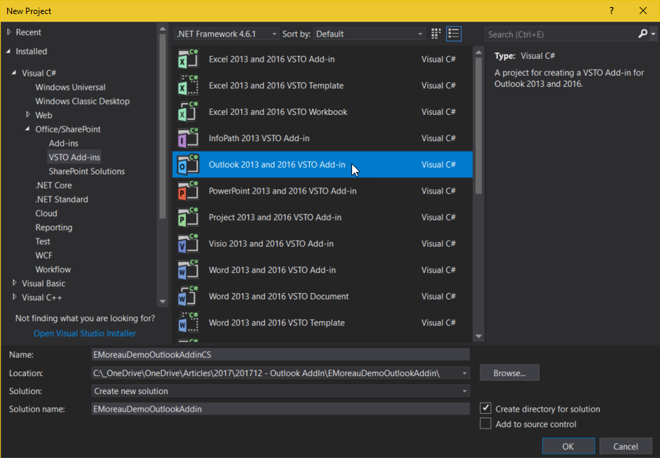 Éric Moreau's blog : Creating an Add-In for Outlook in  Net